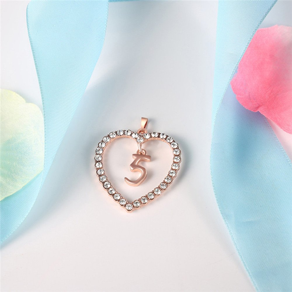 Voberry Lucky Number Necklace 0-9 Zircon Crystal Love Heart Pendant Necklace Choker for Women Girlfriend Best Friends Birthday Anniversary for Her