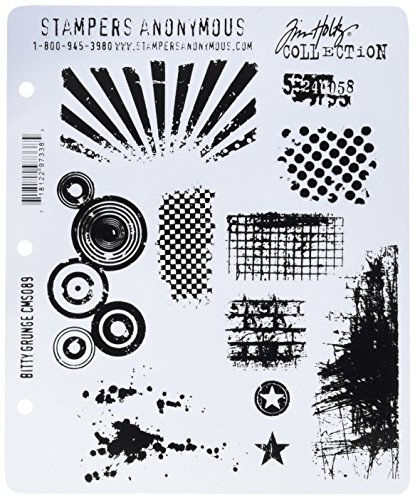 Stampers Anonymous Tim Holtz Large Cling Rubber Stamp Set, Bitty -
