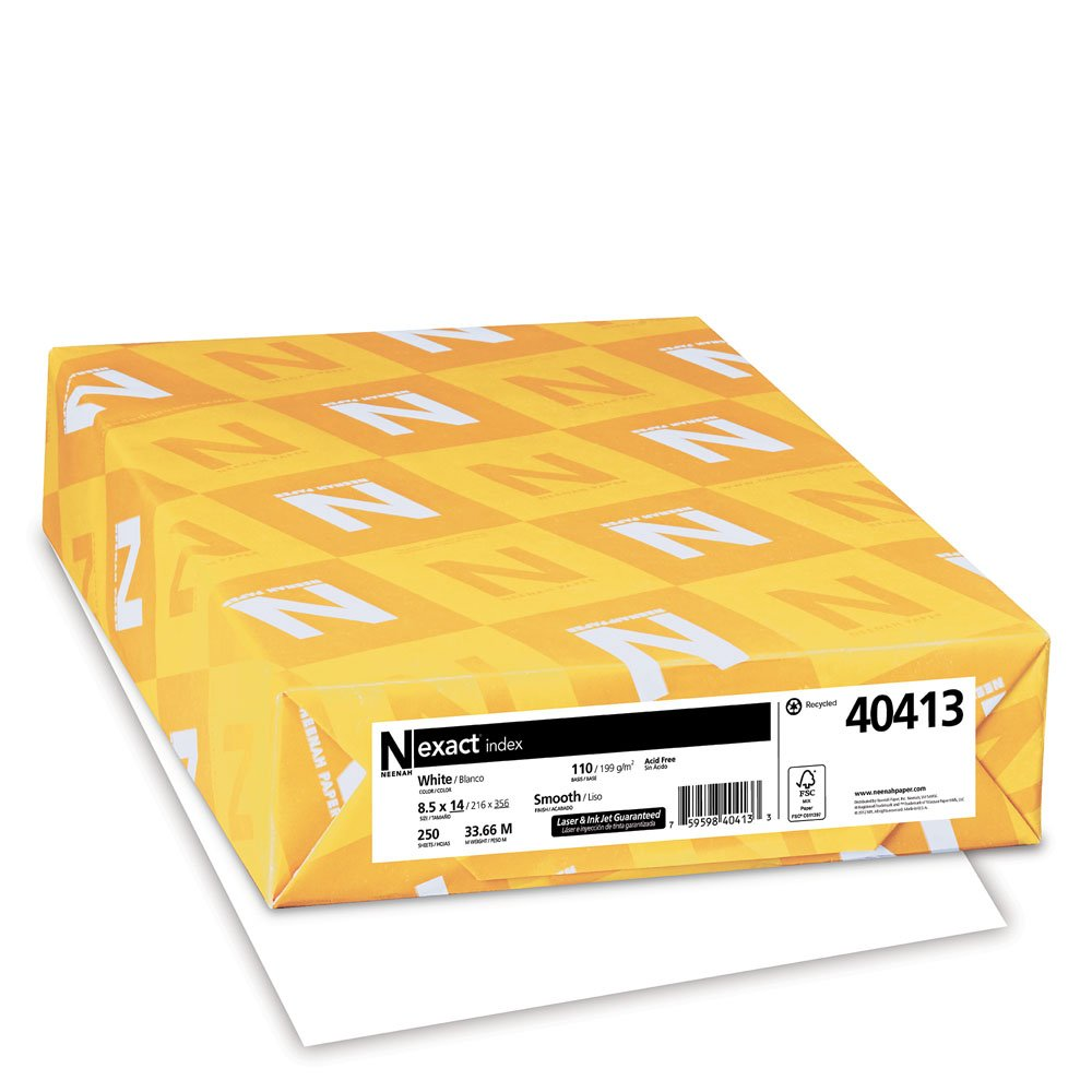 Exact Index Cardstock, 8.5'' x 14'', 110 lb/199 GSM, White, 94 Brightness, 250 Sheets (40413)