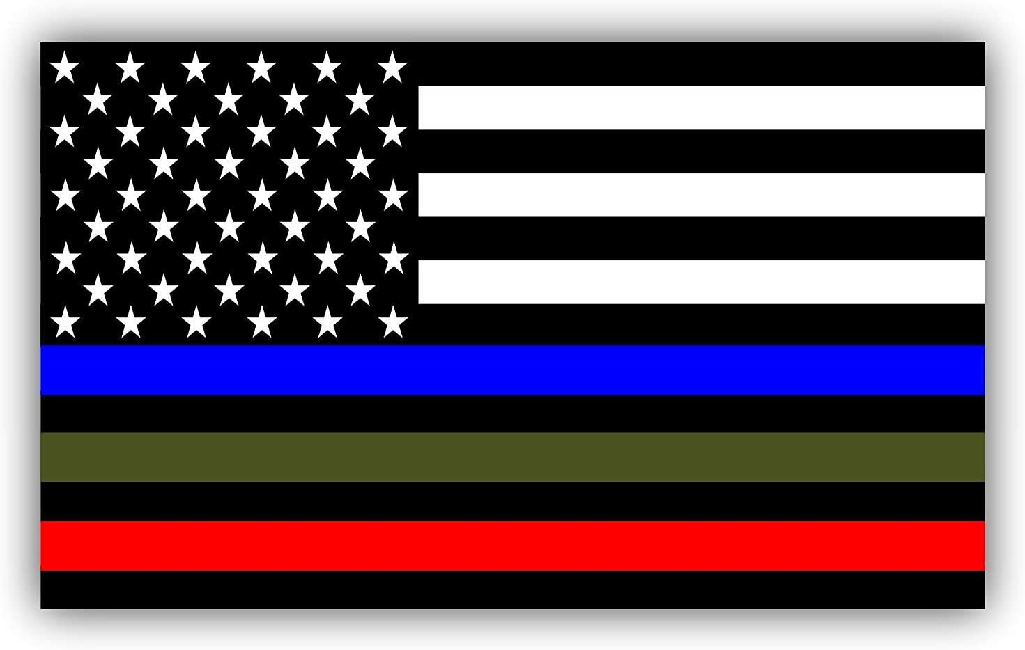 Magnet 2-8 Thin Silver Line American Subdued Flag Decal Corrections Guard Magnetic Sticker Rl