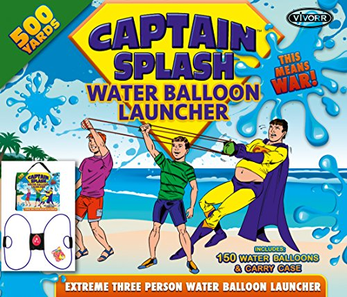 Water Balloon Launcher 500 Yards by Captain Splash, 3 Person Slingshot Cannon Catapult, 150 FREE Water Balloons & Carry Case Included (Blue, Extra Strong Latex Sling) 2019 Edition. Outdoor Games by Vivorr (Image #8)