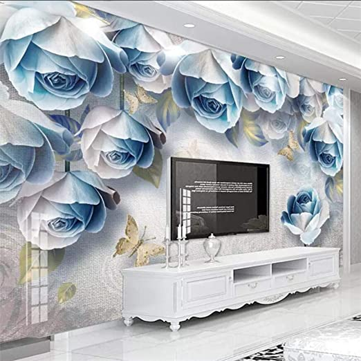 Amazon Com Dalxsh European Retro Rose 3d Stereo Embossed Tv Background Wall Custom Large Mural Green Wallpaper Mural 350x250cm Kitchen Dining