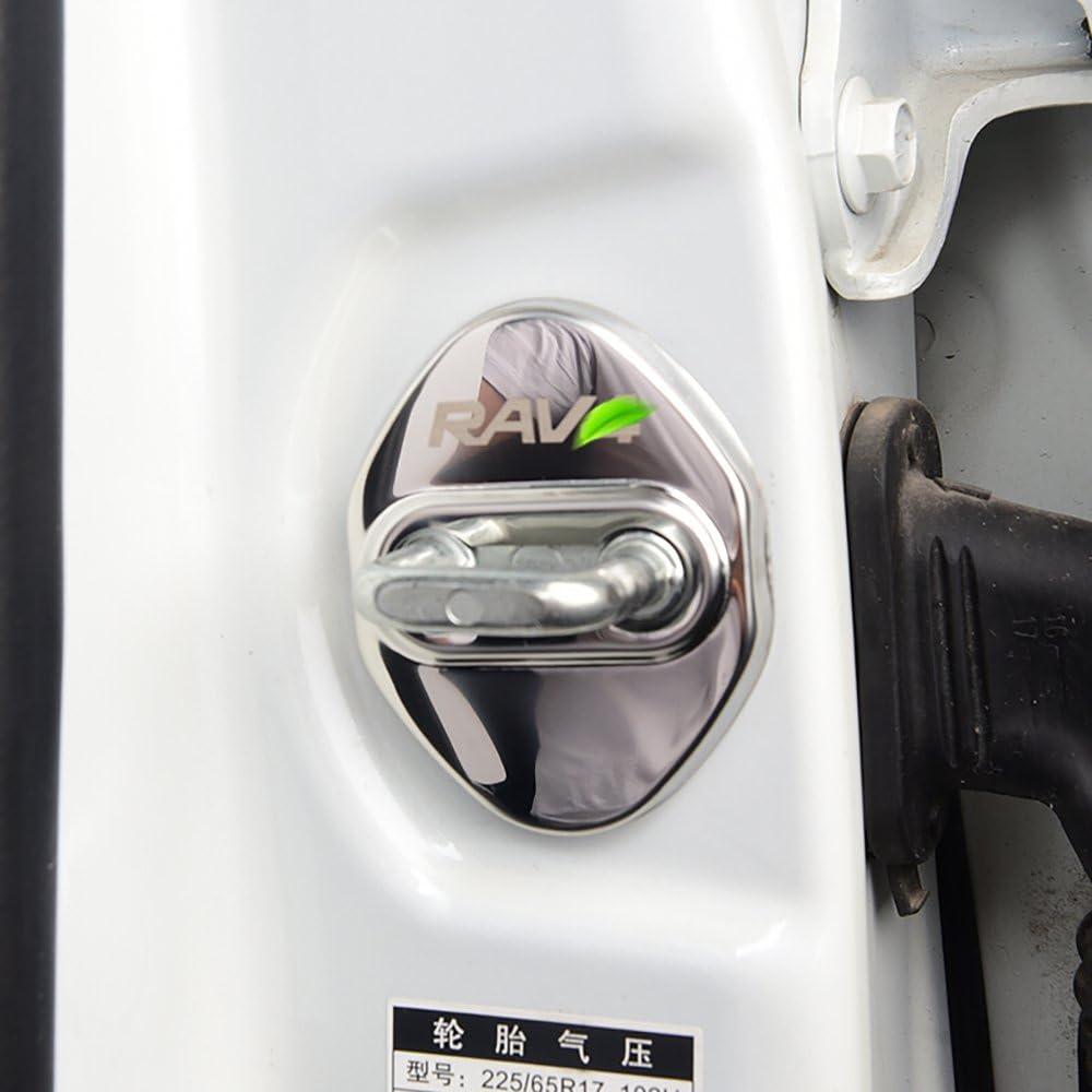BeHave Autos Car Door Lock Cover Protective Fit for Toyota RAV4 2013-2020 Blue Mirror Stainless Steel Texture 4 Pieces Car Door Latches Striker Trim Lip knob Case