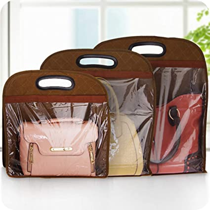 KeKeandYaoYao Handbag Dust Cover Leather Bag Protector Hanging Storage Pouch Closet Organizer Beige S