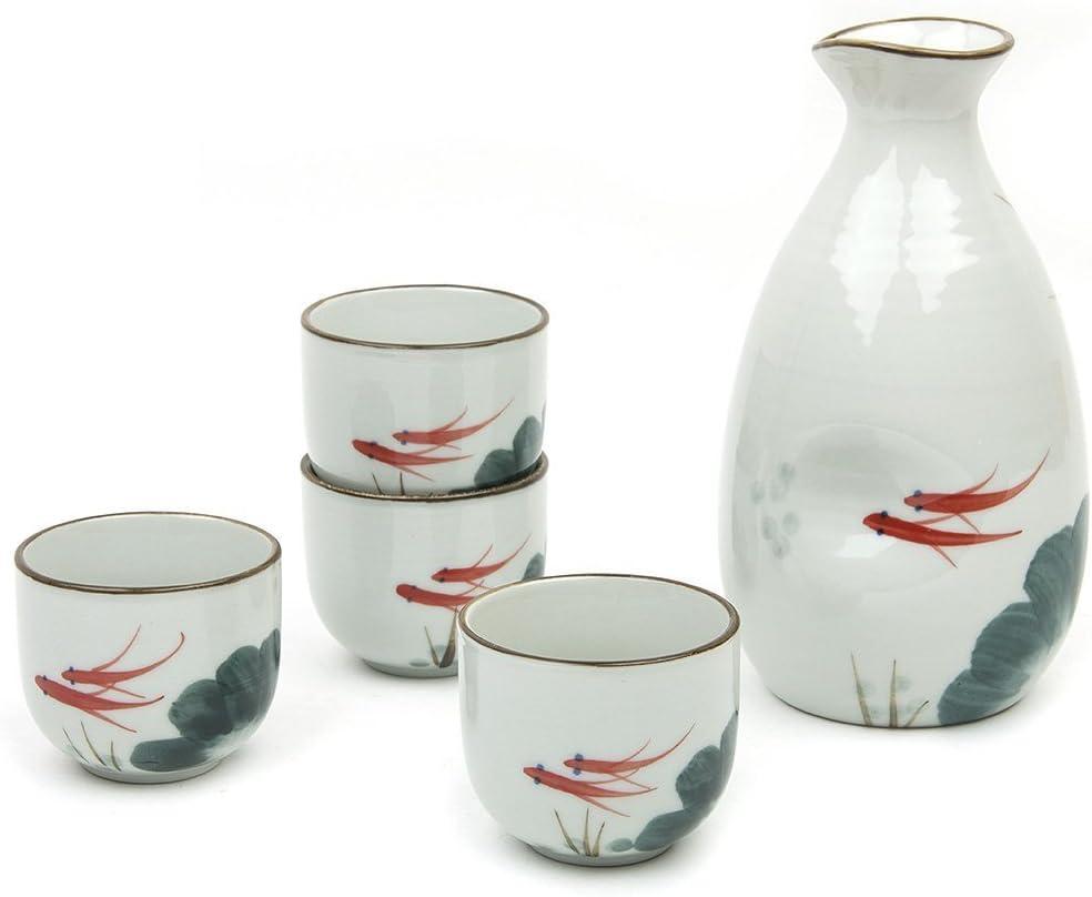 Sake Set Japanese Sake Cup Set Traditional Hand Painted Design Porcelain Pottery Ceramic Cups Crafts Wine Glasses 5 Piece Blue Wise