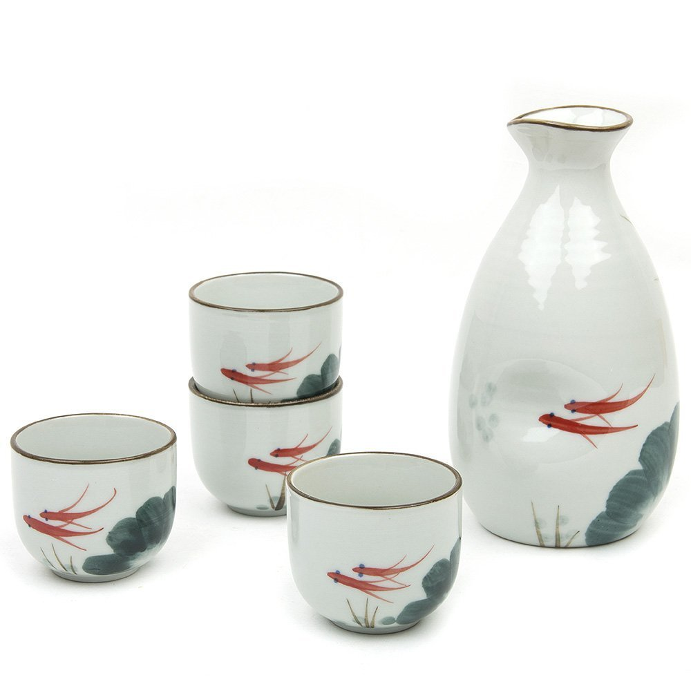 Sake Set, Sake Cup 5 Pieces Japanese Traditional Hand Painted Design Porcelain Pottery Ceramic Cups Crafts Wine Glasses (Fish) Craftsman Home