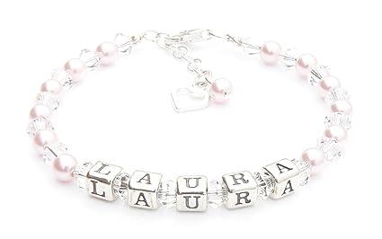 Rose Perle baptême – Bracelet argent Bracelet Prénom – personnalisé Boîte fcb7a888cd0c