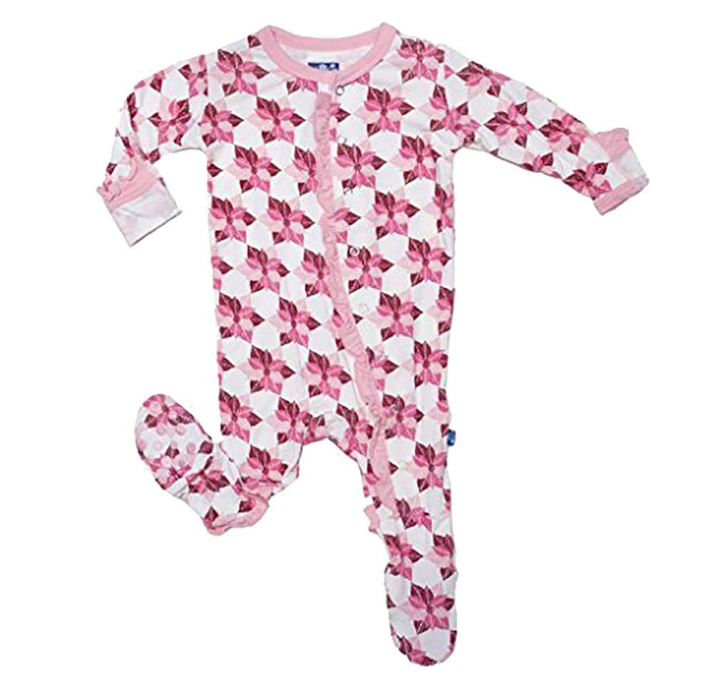 Kickee Pants Toddler Girls Ruffle Footie Pajama Newborn Natural Poinsettia