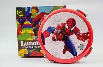 Shopkooky Spiderman Cartoon Character Printed Steel and Plastic Tiffin Box
