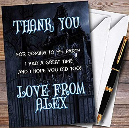 Dark Haunted House Personalized Halloween Party Thank You Cards