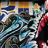JP London SQM0085PS Graffiti Garage Urban Punk Door Peel and Stick Removable Wall Decal Sticker Mural, 6' High by 6' Wide