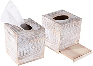 YCOCO Rustic Square Wooden Tissue Box Cover with Slide-Out Bottom Panel for Home Decoration and Bathroom,Square Pack of 2