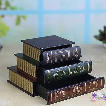 Lenny 3 Capas Cajas de Joyas Artesanales de Madera Adornos Cajas de Almacenamiento Decoraciones Superposición Creativas Retro Libro Cajón de Acabado para ...