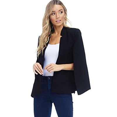 Alexander + David Women's Woven Structured Cape Blazer Coat, Suit Jacket with Pockets at Women's Clothing store
