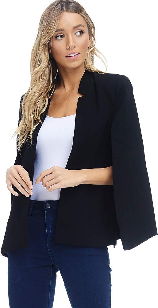 Women\u0027s Woven Structured Cape Blazer Coat, Suit Jacket with Pockets