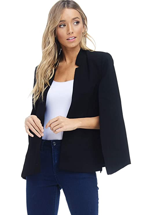 Alexander + David Women's Woven Structured Cape Blazer Coat, Suit Jacket with Pockets (Black, Large) best women's blazers