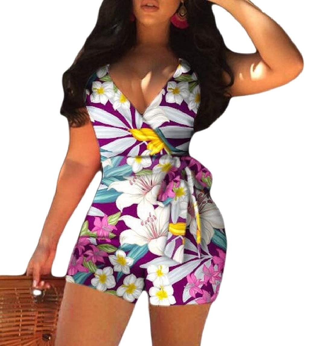 HTOOHTOOH Womens Wrap V Neck Floral Spaghetti Strap Boho Summer Short Romper