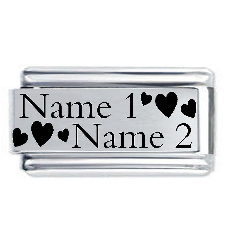 G/änsebl/ümchen-Charm Superlink 2 Namen und Datum ge/ätzt italienisch passend f/ür Nomination