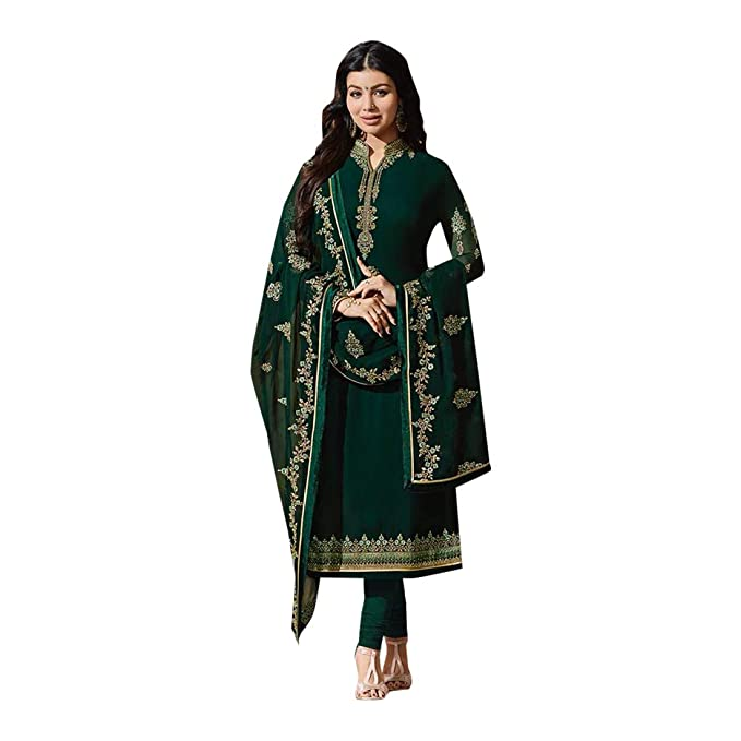 ETHNIC EMPORIUM Diseño Violeta Bollywood Salwar Kameez Traje Gérogette Bordado László Kamiz Vestido de niña Mujer