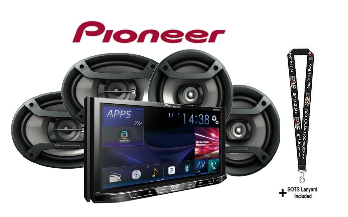 Pioneer AVH-X490BS DVD Receiver with Built in Bluetooth with 6x9'' Pair and 6.5'' Pair of Car Speakers with a SOTS Lanyard