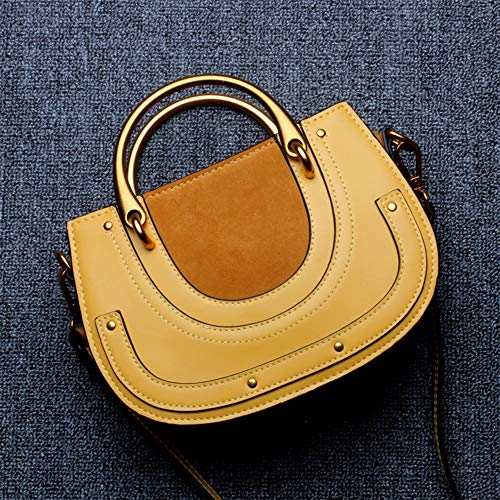 LJ New Retro Casual Fashion Bills Shoulder Slung Small Handbag Female Cowhide Bag Wild Joker (Color : -