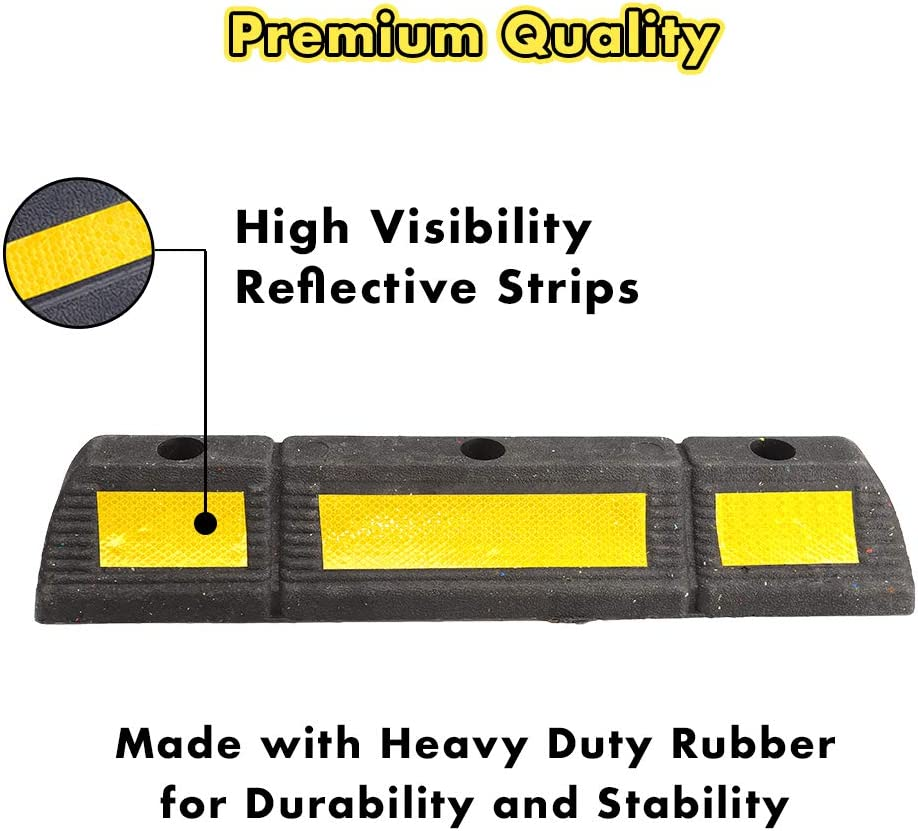 22.8 Inches Long x 3.3 Inches High Truck Parking Tatget for Car RV and Trailer Stop Aid Genubi Industry 2 Pack Parking Stopper Heavy Duty Rubber Curb Parking Block with Yellow Reflective Tape