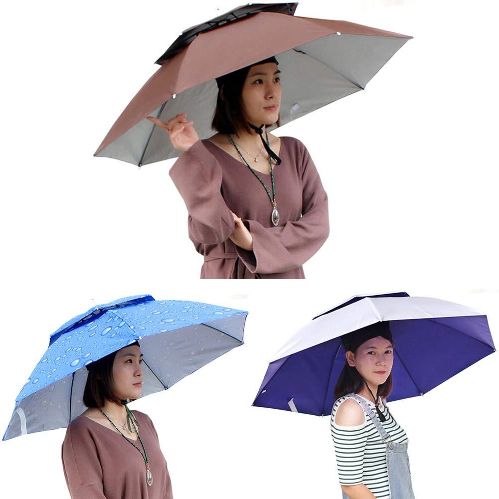 PoeHXtyy Doppelschicht Faltbare Regenschirm Hut Headwear Regen Sonnenschutz Angeln Kappe