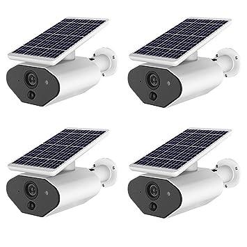 OMZBM Multifunción Smart 960P HD Cámara Energía Solar A Prueba Agua Aplicación Móvil Cámara Vigilancia Seguridad Remota para Interiores Al Aire Libre con ...