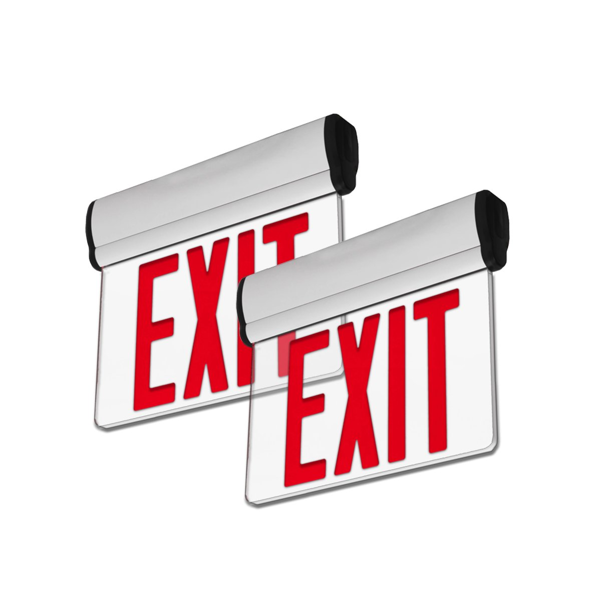 LFI Lights - 2 Pack - UL Certified - Hardwired Red LED Edge Light Exit Sign - Rotating Panel Battery Backup - ELRTRx2
