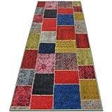 casa pura Patchwork Rug Runner for Hallway, Multi Coloured 80x200cm | Non-Slip | Vintage Style Pattern Ideal for Kitchen, Bedroom Floor etc