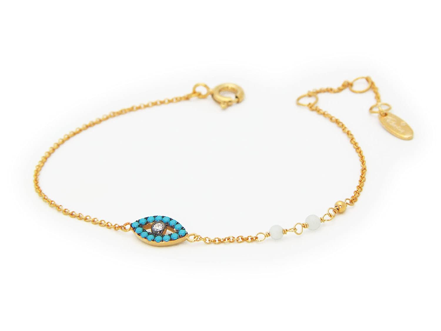 Evil Eye Bracelet Gold Plated Silver Chain Dainty Simulated Turquoise Eye Amulet Charm for Good Luck /& Protection