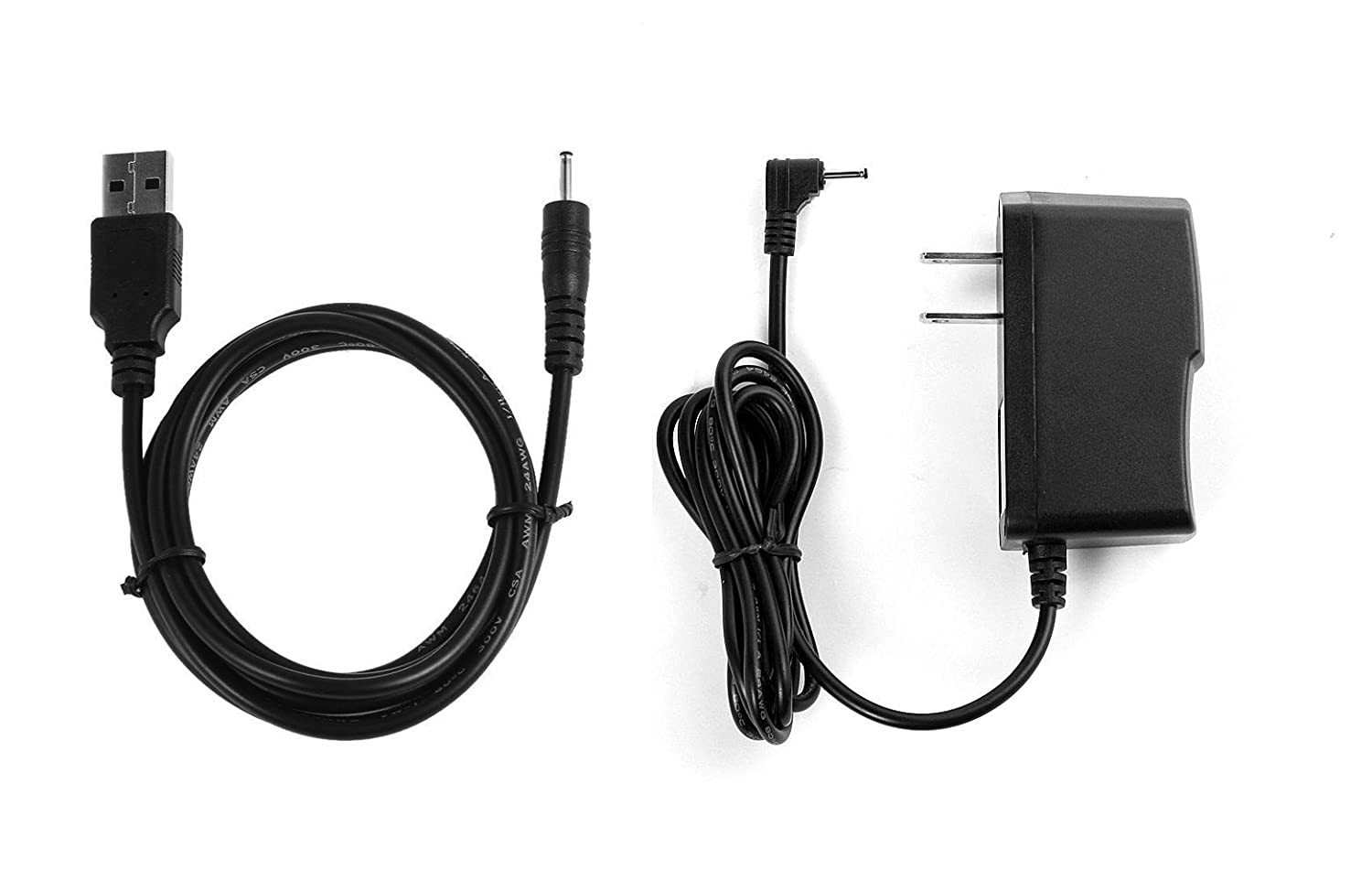 NiceTQ Replacement Home Wall AC Power Adapter Charger + DC USB Charging Cable For RCA 10 VIKING PRO RCT6303W87 / RCT6303W87DK 10' Tablet