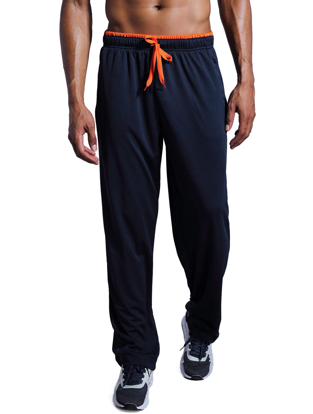 ZENGVEE Men's Sweatpant with Zipper Pockets Open Bottom Athletic Pants for Jogging, Workout, Gym, Running, Training (NavyBlue01,S)