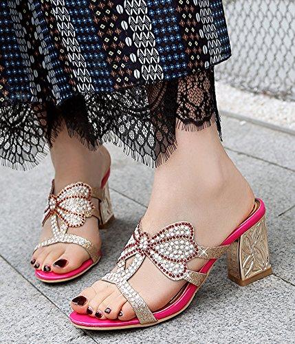 Mules Strass Or Plage Lady Papillon Aisun Rouge Talon Noeud Femme Mode HwCqUxSAP
