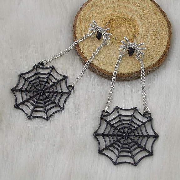 Black Fall Insect Earrings Cool Nickel Free Niobium Handmade Long Copper Spooky Goth Emo Jewelry Halloween Copper Spider Web Earrings