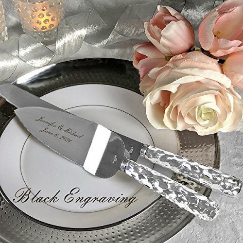 PERSONALIZED, Engraved Hammered Design Silver Stainless Wedding Cake Serving Set - Knife and Server by Fashioncraft (Image #2)