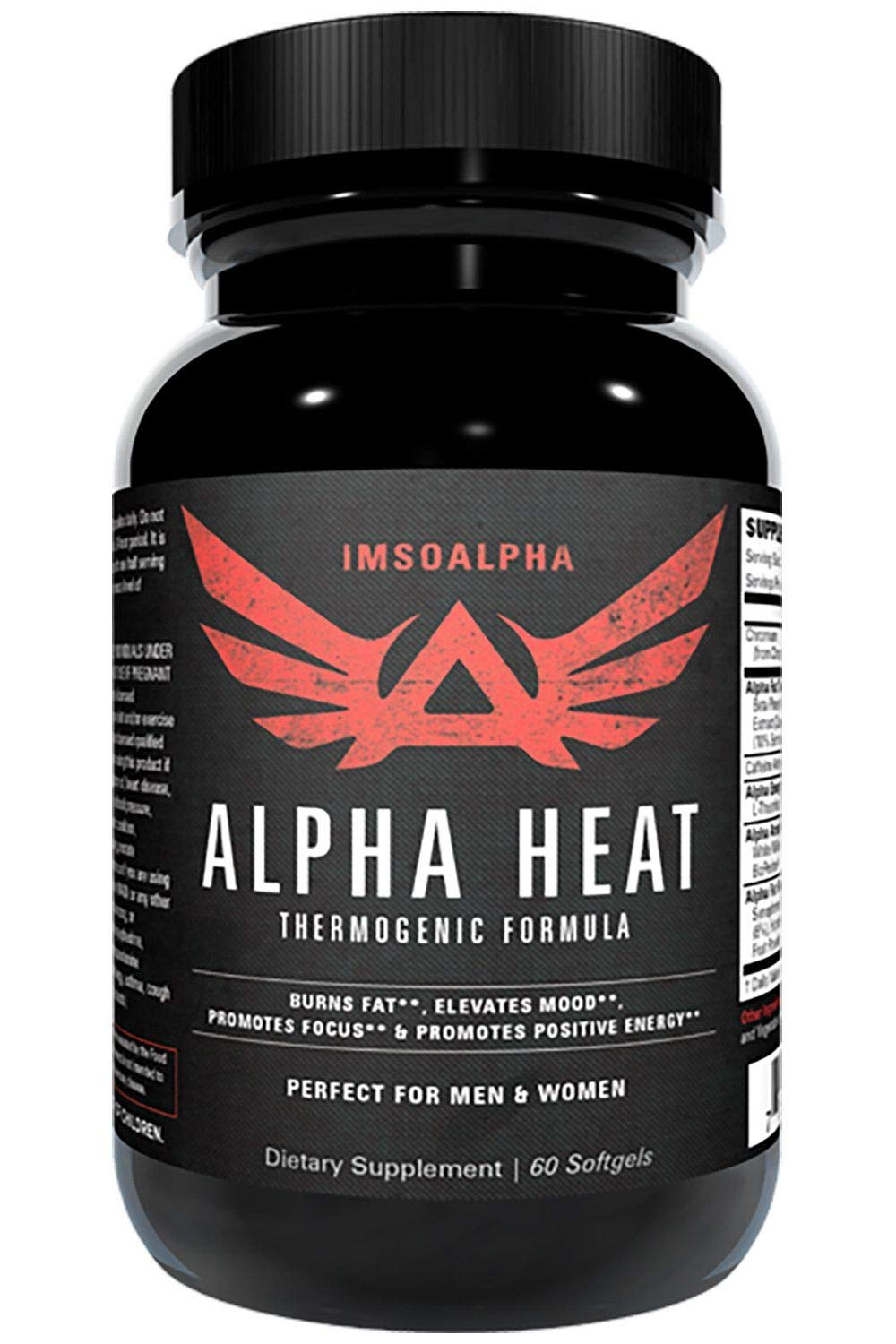 IMSOALPHA Alpha Heat Thermogenic Fat Burner for Increased Energy and Fat Shredding 60 Capsules
