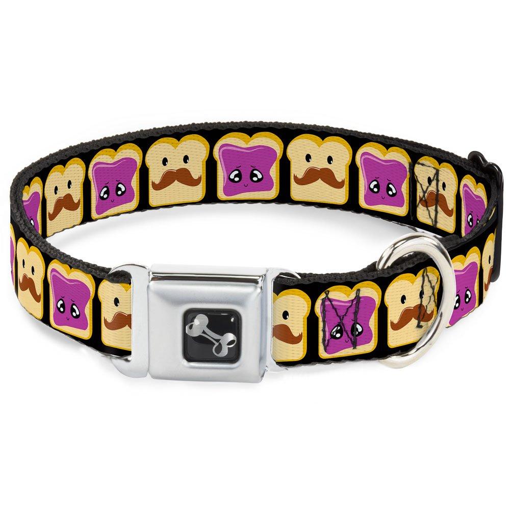 Peanut Butter w Mustache & Jelly 1\ Peanut Butter w Mustache & Jelly 1\ Buckle-Down Seatbelt Buckle Dog Collar Peanut Butter w Mustache & Jelly 1  Wide Fits 9-15  Neck Small