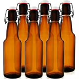 12 oz Flip Top Bottles – Grolsch-Style Swing Top Bottles – Perfect Size for Beer, Kombucha & More – Reusable Home Brewing Glass Bottles (Amber, Case of 6)