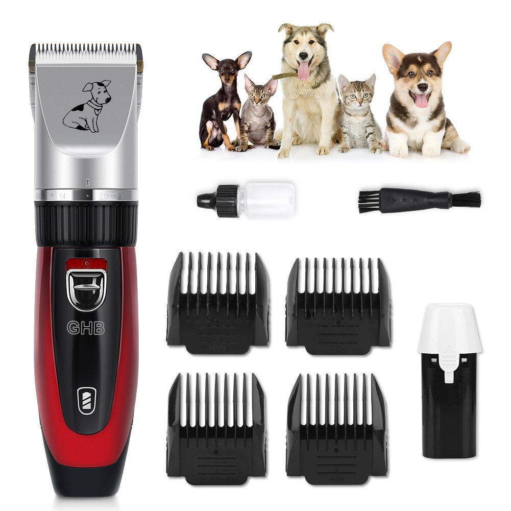 GHB Cortapelo para Perro Esquiladora Eléctrica Dog Clipper Recargable Para Mascota Gato Rojo gohappybuy