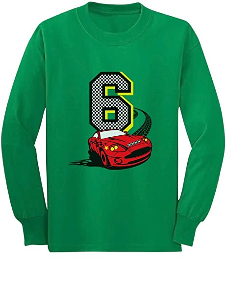 Amazon 6th Birthday 6 Year Old Boy Race Car Party Youth Kids Long Sleeve T Shirt Clothing