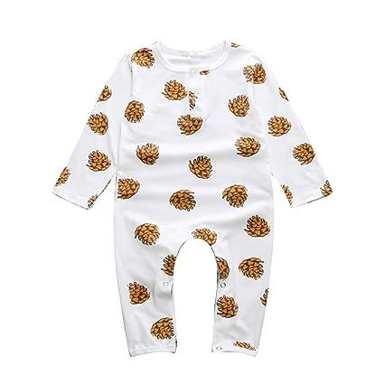 puseky bebé niños niñas pino Cono Pelele de manga larga traje pijamas Onesies blanco blanco Talla