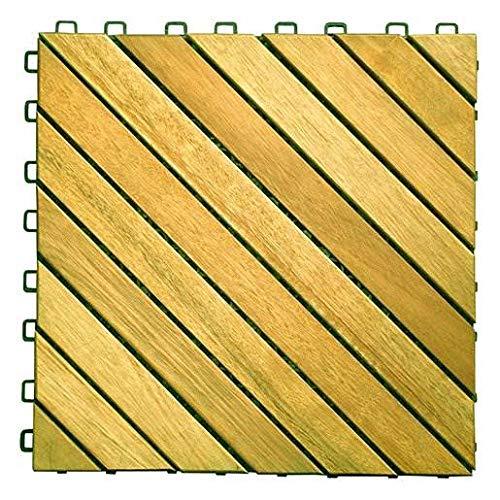 (12 Diagonal Slat Design Interlocking Deck Tile)