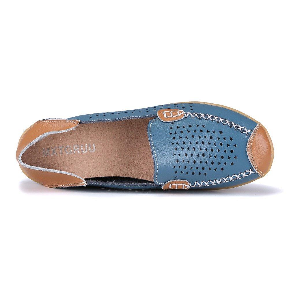 MXTGRUU Women's Leather Casual Slip-ONS Shoes B07DNXYP4P 8 B(M) US|Blue-2