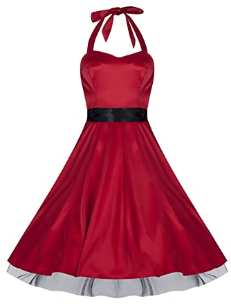 Ladies 1940s 1950s Vintage Style Red Silky Satin Halterneck Party Prom Dress ...