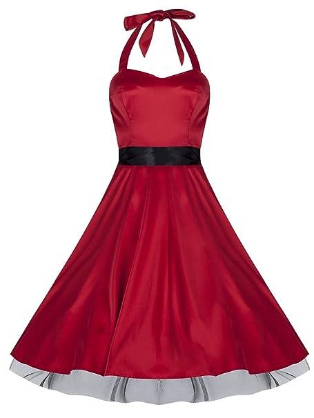1950 de estilo vintage Rojo raso Full Circle Full Circle cuello halter vestido de cóctel fiesta