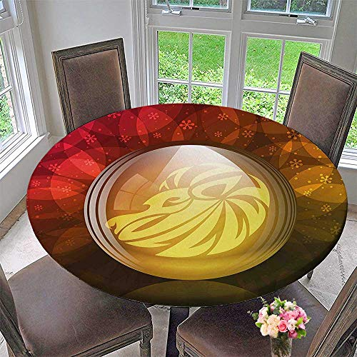 Mikihome Round Premium Table Cloth Snow Globe with Zodiac Sign Leo on Floral Background Print Red Yellow Dark Perfect for Indoor, Outdoor 43.5
