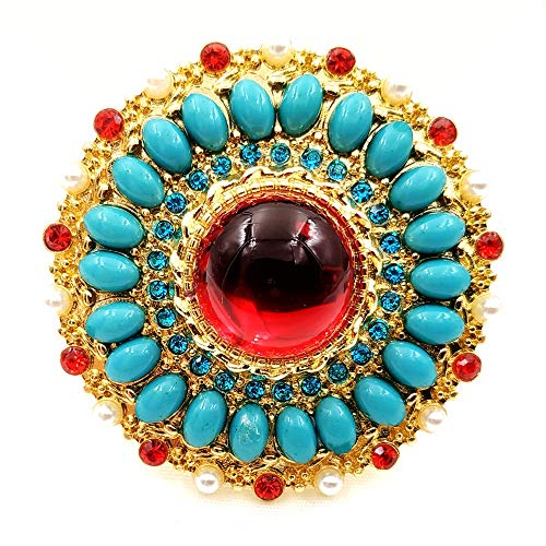 DREAMLANDSALES Exquisite Vintage Gold Tone Turquoise Blue Surrounded Domed Red Round Stone Brooch Art Deco Pin