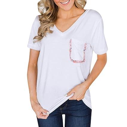 LILICAT® Camisetas de algodón Mujeres, 2018 Mujeres Moda bolsillo Patchwork Basic Blusas Basic V