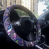 Rayauto Automotive Car Steering Wheel Cover 15 inch Creative Ethnic Flax Boho Colorful Printing Odor free